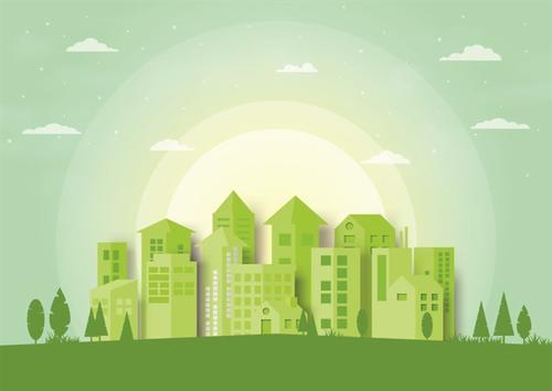 卡通绿色城市背景