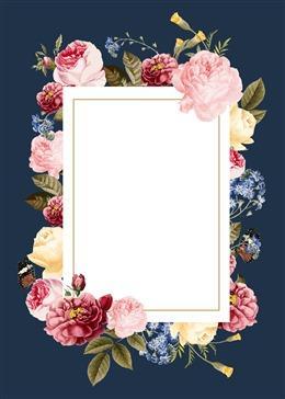 花朵边框婚礼请柬贺卡