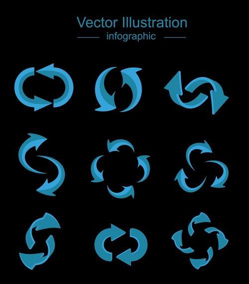 蓝色立体循环回收箭头