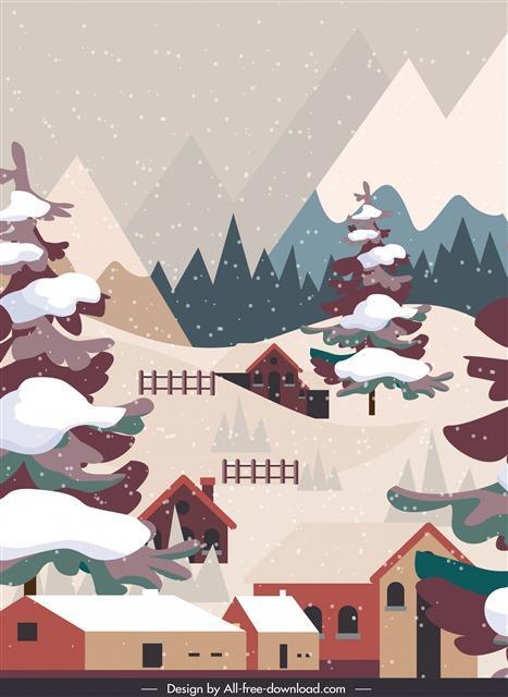 冬天积雪树木雪景