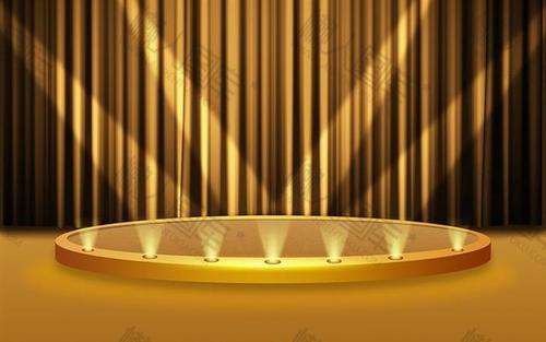金色展示台双十二背景图片