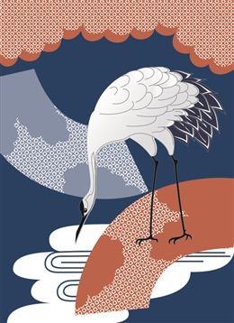 日式仙鹤纹样背景