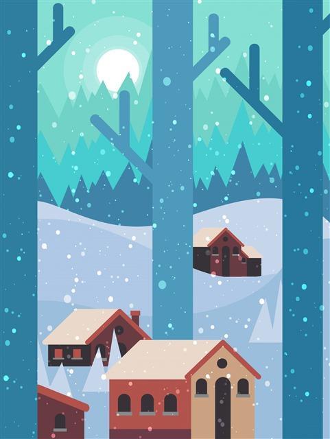 冬天下雪的村庄插画