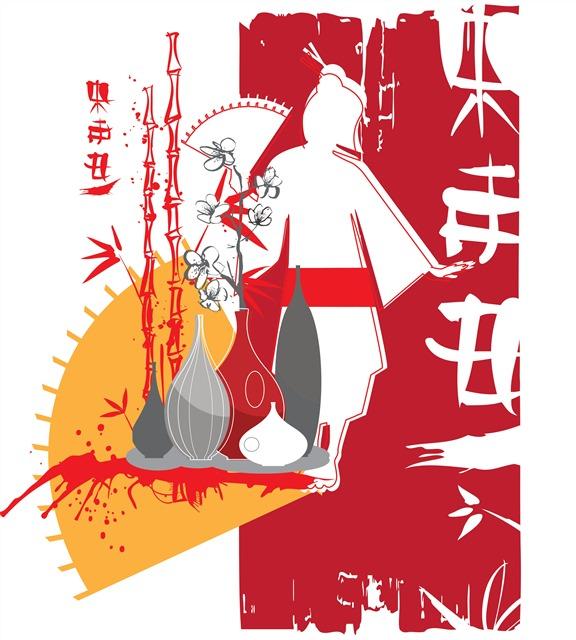 日本和服艺妓插画