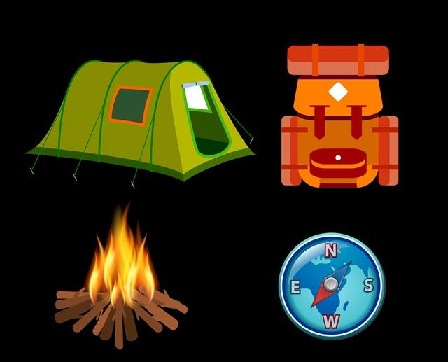 旅行露营矢量插图