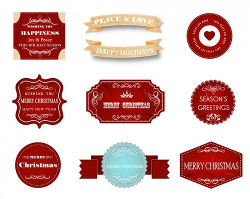 复古风格圣诞装饰标签矢量