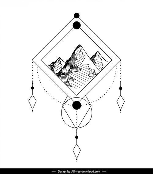 几何线条纹身图案