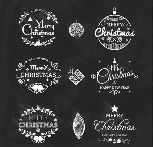 圣诞节字体标签矢量