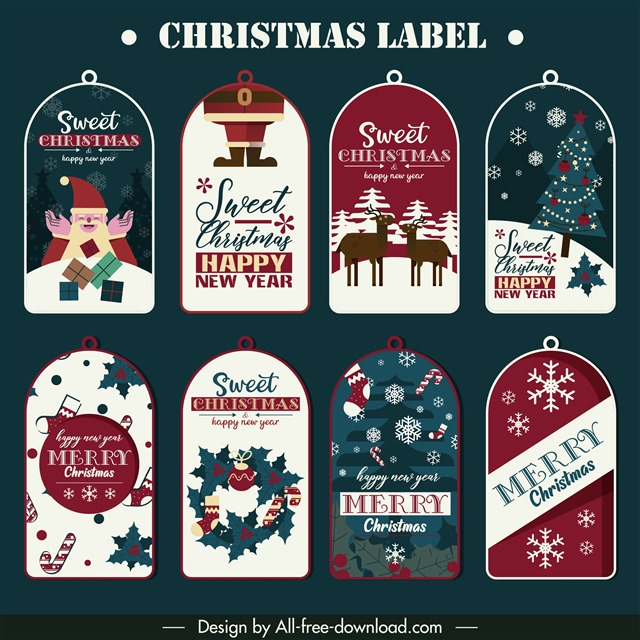 插画风圣诞节矢量标签
