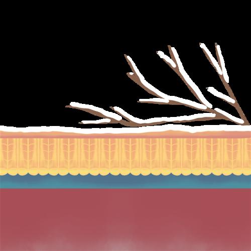 手绘冬季屋檐树枝元素