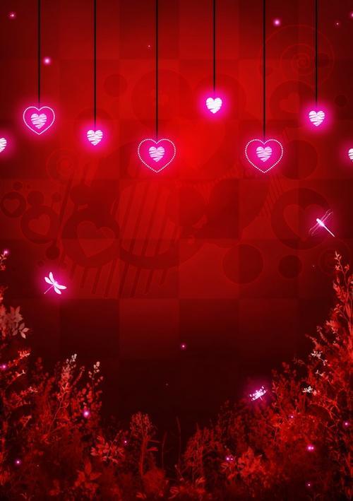 红色浪漫情人节背景图免抠