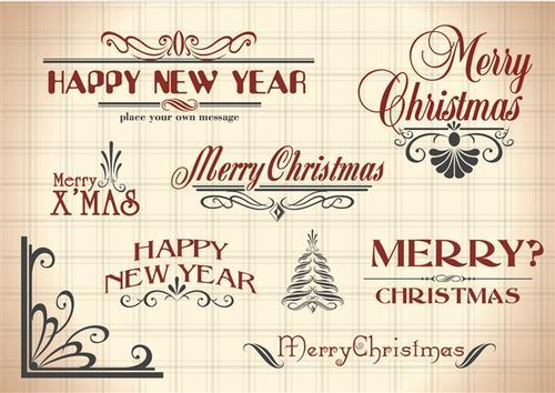 新年快乐创意字体装饰元素