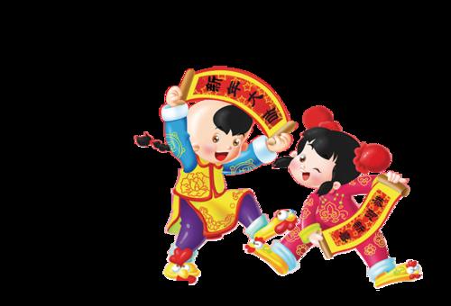 中国新年娃娃拜年