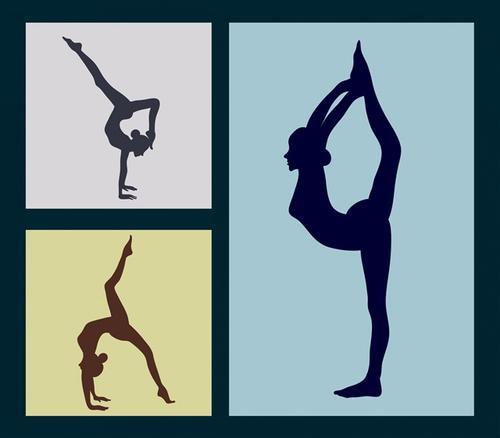 女性瑜伽动作剪影图片