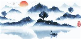 湖面泛舟古风背景图片