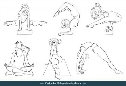瑜伽动作素描图片