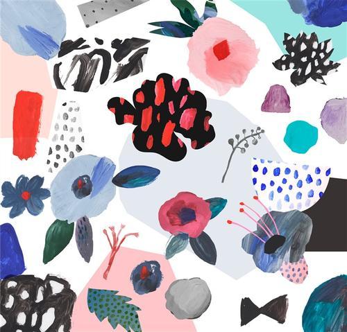 抽象花卉油画背景