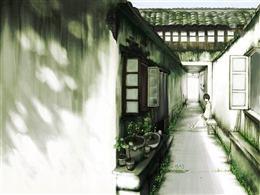 古风水彩古巷背景