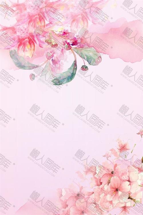粉色手绘唯美花朵背景图片