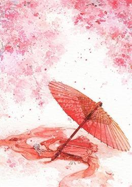 手绘古风红纸伞