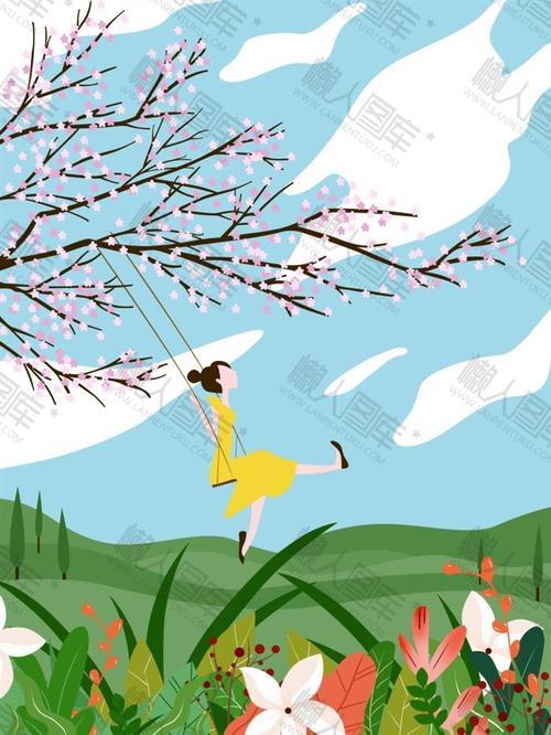 春天女孩荡秋千手绘背景图片