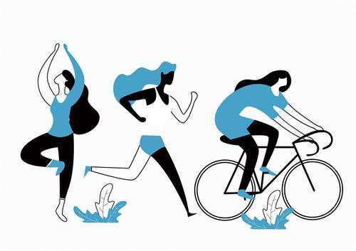 健康生活方式插画图片