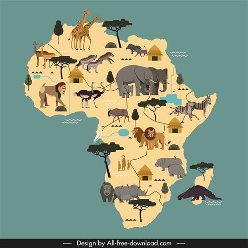 非洲动物分布地图