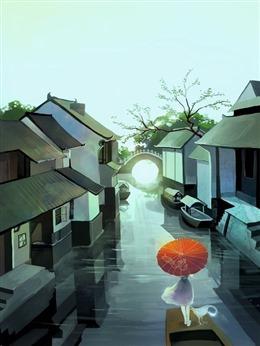 江南古镇彩绘图片