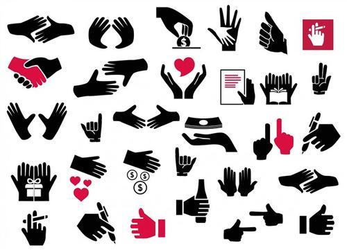 黑色手势图标矢量图