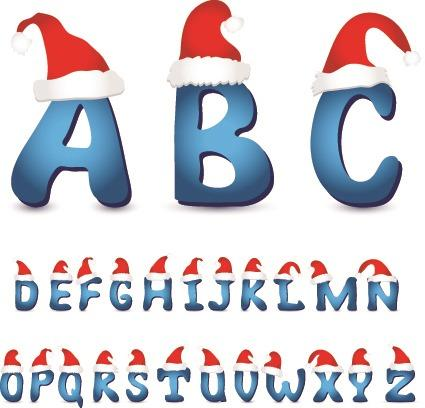 圣诞帽英文字母矢量图免抠