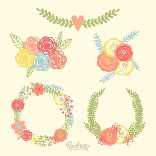手绘玫瑰花花环图片