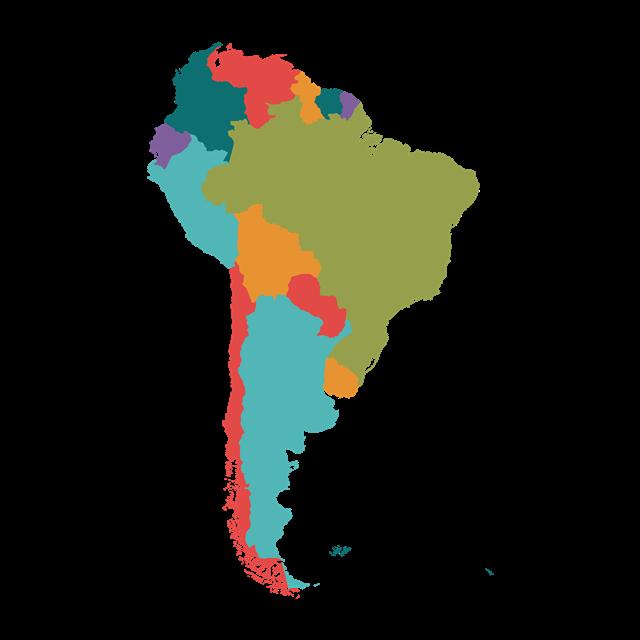 彩绘南美洲地图矢量