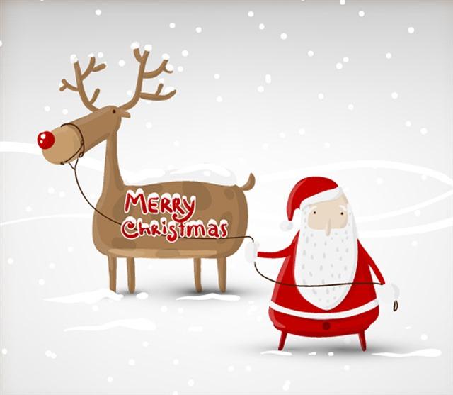 圣诞老人驯鹿卡片封面图片