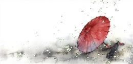 古风红伞图片绘画