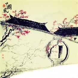 古风院落手绘插画图片