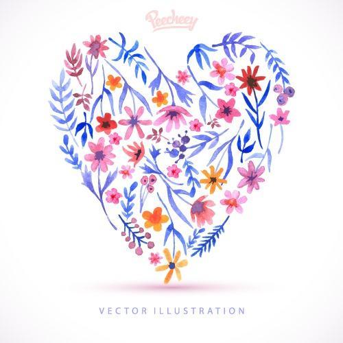 抽象爱心花卉图案