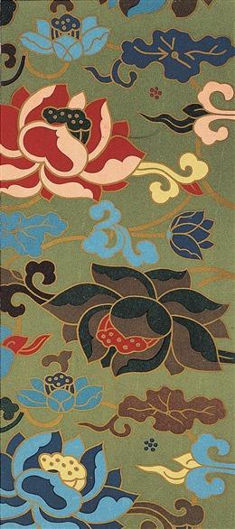 中国风荷花刺绣背景