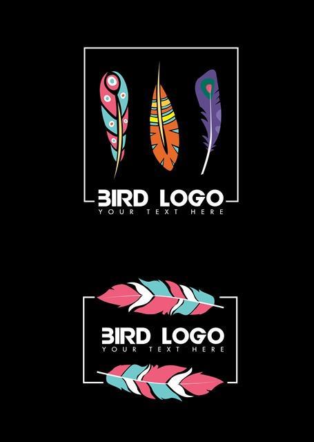 文艺风彩色羽毛logo