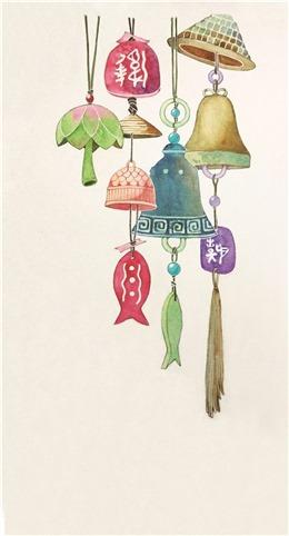 中国古风手绘挂饰背景