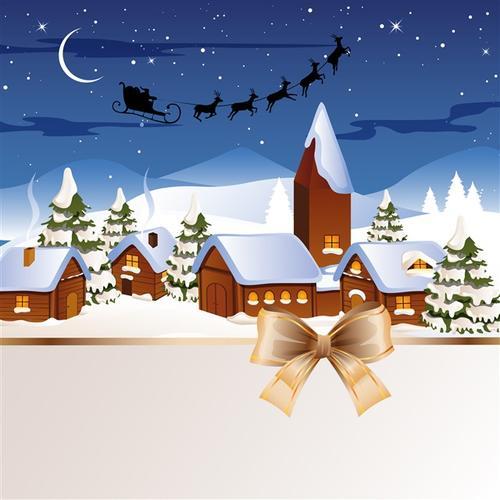 圣诞节雪屋背景图片