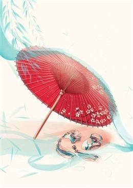 古风红纸伞背景图片