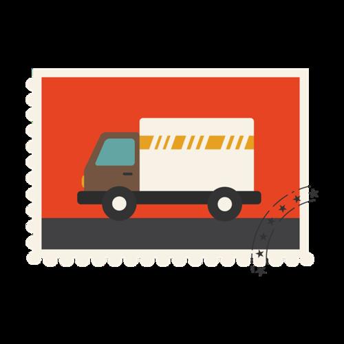 卡通快递卡车免抠图