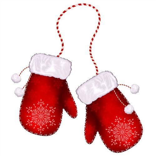 红色圣诞手套矢量图