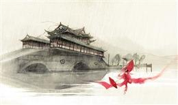 水彩古风城池背景图片