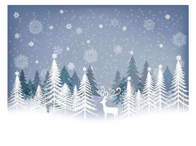 圣诞节冬季麋鹿雪景贺卡图片
