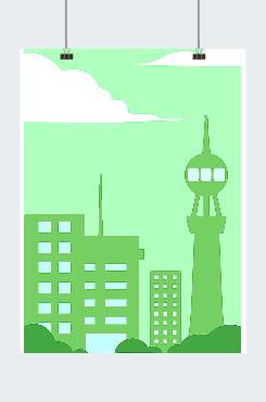 保护环境海报城市剪影插画图片