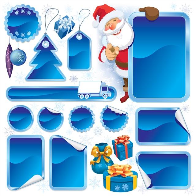 蓝色圣诞节标签图片