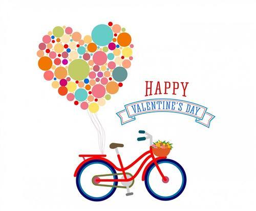 单车气球情人节装饰图案