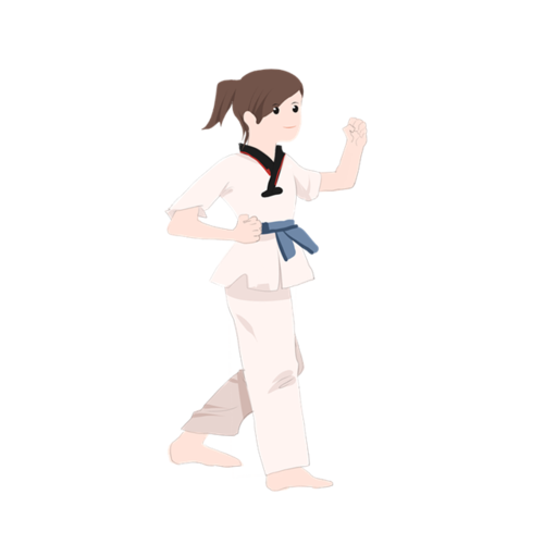 女孩学跆拳道的卡通图片