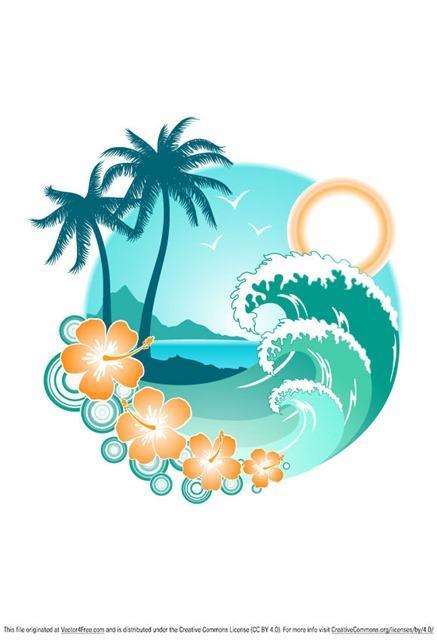 沙滩海浪简笔画
